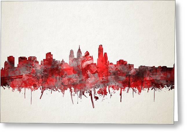Philadelphia City Skyline Red Greeting Card