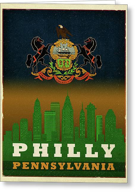 Philadelphia City Skyline State Flag Of Pennsylvania Art Poster Series 014 Greeting Card by Design Turnpike