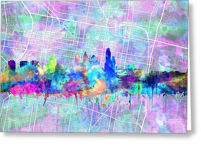 Philadelphia City Skyline Watercolor 2 Greeting Card