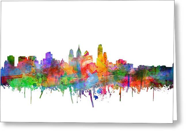Philadelphia City Skyline Watercolor 3 Greeting Card