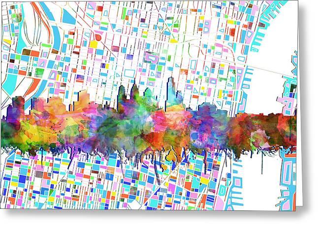 Philadelphia City Skyline Watercolor 5 Greeting Card