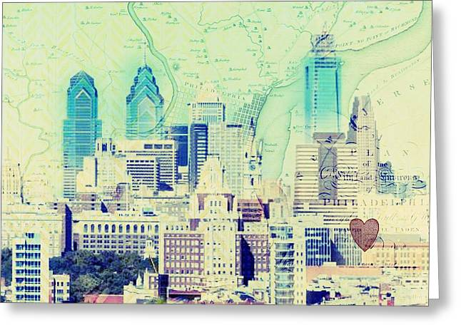 Philadelphia Cityscape Greeting Card by Brandi Fitzgerald