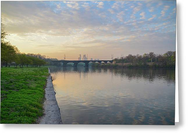 Philadelphia Cityscape From The Schuylkill In The Morning Greeting Card by Bill Cannon