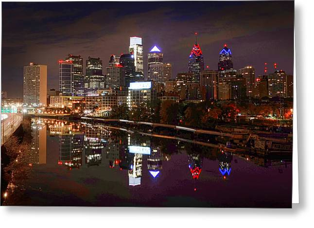 Philadelphia Cityscape Reflections Greeting Card by Bill Cannon