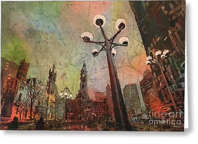Philadelphia Downtown Sunrise Greeting Card by Ryan Fox
