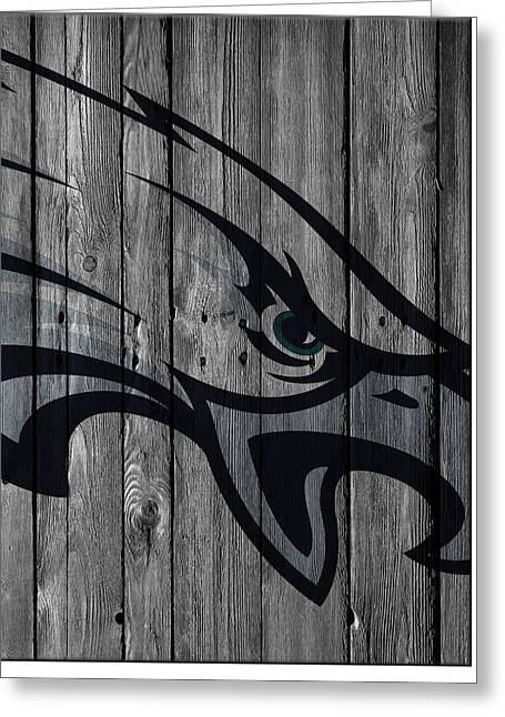 Philadelphia Eagles Wood Fence Greeting Card by Joe Hamilton