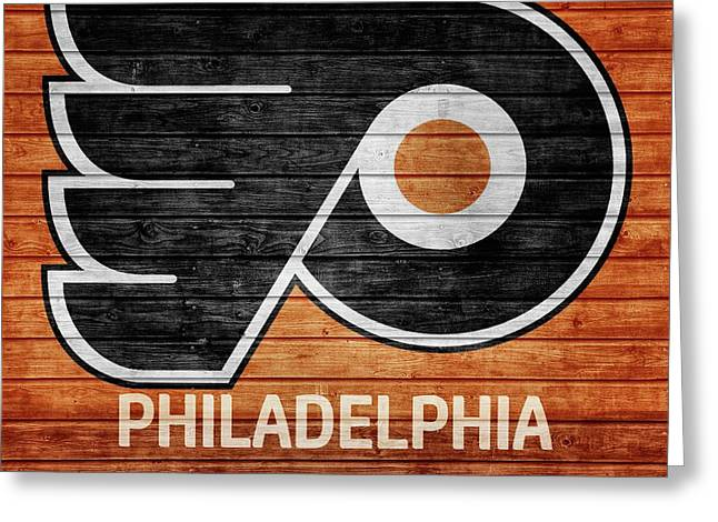 Philadelphia Flyers Barn Door Greeting Card by Dan Sproul
