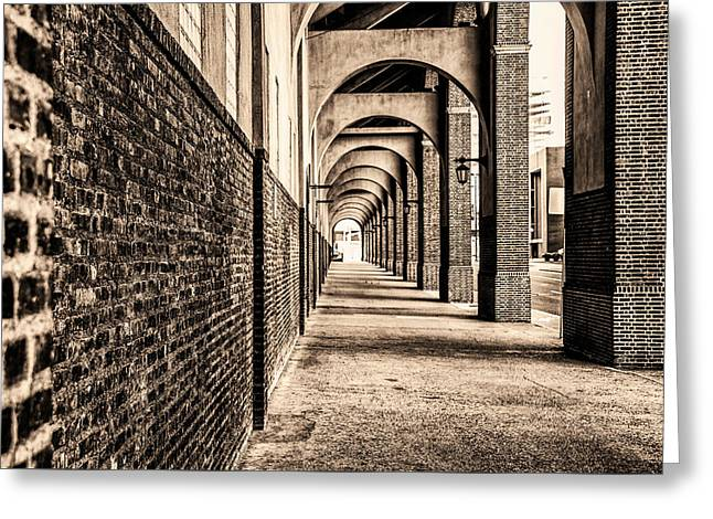 Greeting Card featuring the photograph Philadelphia - Franklin Field Archway In Sepia by Bill Cannon