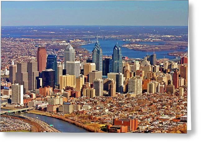 Areal Greeting Cards - Philadelphia from Schyulkill to Delaware Greeting Card by Duncan Pearson