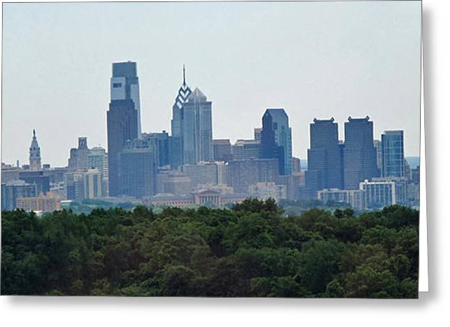 Philadelphia Green Skyline Greeting Card