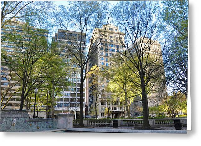 Philadelphia In April - Rittenhouse Square Greeting Card by Bill Cannon
