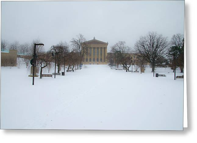 Philadelphia Museum Of Art After A Snowfall Greeting Card by Bill Cannon