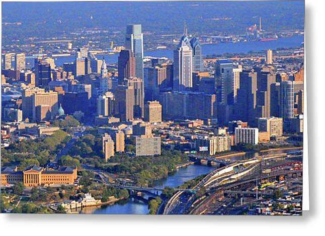 Philadelphia Skyline Greeting Cards - Philadelphia Museum of Art and City Skyline Aerial Panorama Greeting Card by Duncan Pearson