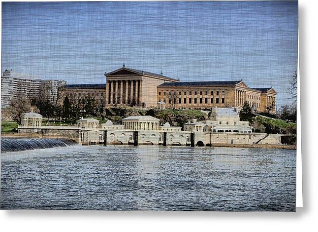 Philadelphia Museum Of Art And The Fairmount Waterworks From Across The Schuylkill River Greeting Card by Bill Cannon