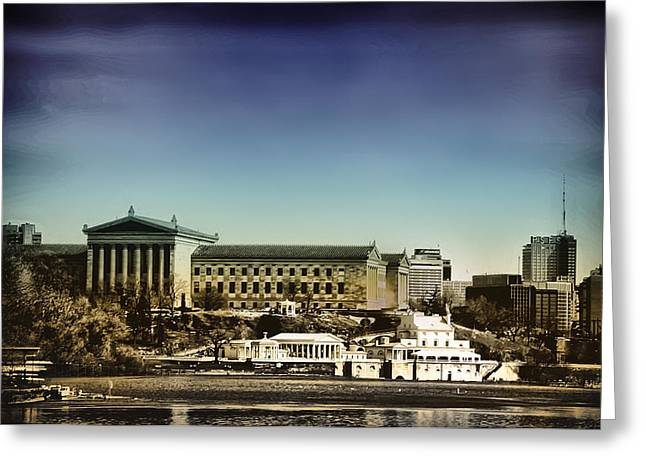 Philadelphia Museum Of Art And The Fairmount Waterworks From West River Drive Greeting Card by Bill Cannon