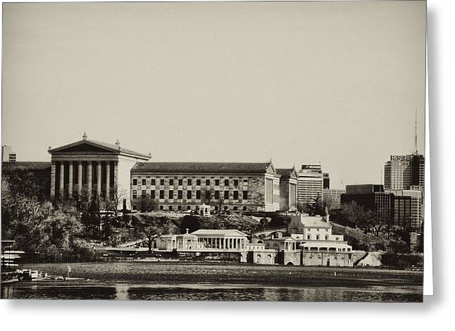 Philadelphia Museum Of Art And The Fairmount Waterworks From West River Drive In Black And White Greeting Card by Bill Cannon
