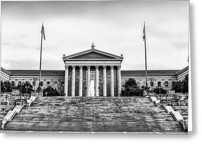 Philadelphia Museum Of Art Panorama In Black And White Greeting Card by Bill Cannon