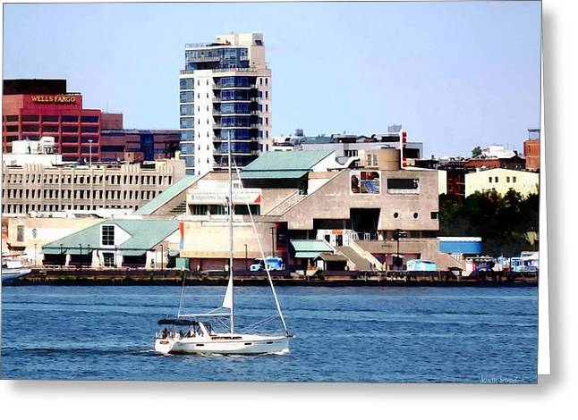 Philadelphia Pa - Sailboat By Penn's Landing Greeting Card by Susan Savad