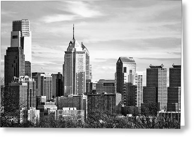 Philadelphia Pa Skyline II Black And White Greeting Card by Susan Savad