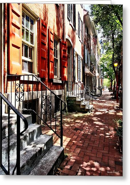 Philadelphia Pa Street With Orange Shutters Greeting Card