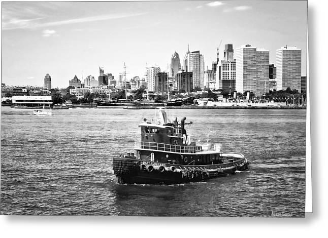 Philadelphia Pa - Tugboat By Philadelphia Skyline Black And White Greeting Card
