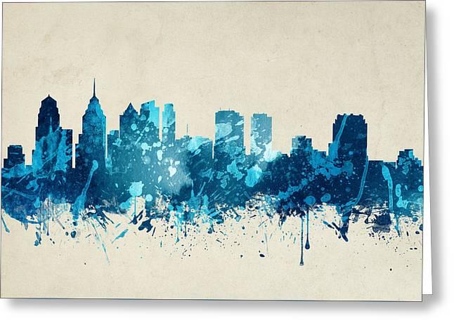 Philadelphia Pennsylvania Skyline 20 Greeting Card by Aged Pixel