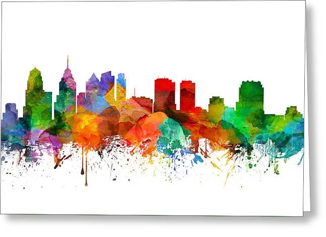Philadelphia Pennsylvania Skyline 21 Greeting Card by Aged Pixel