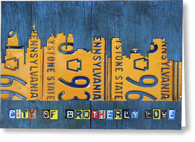 Philadelphia Pennsylvania Skyline License Plate Art Edition 2016 Greeting Card