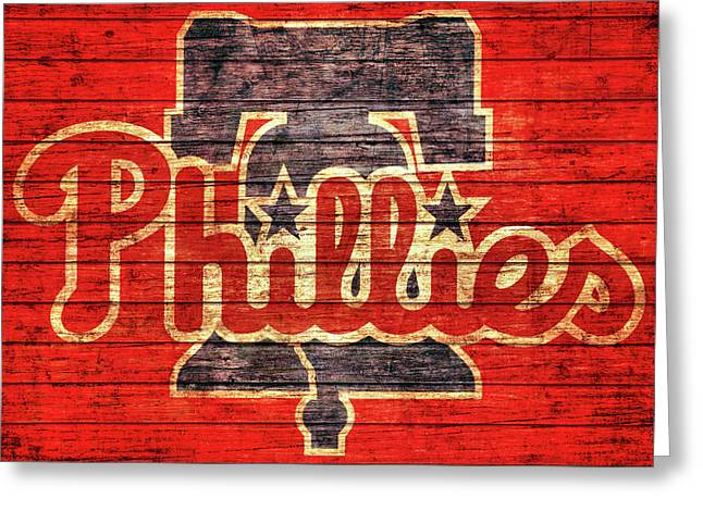 Philadelphia Phillies Barn Door Greeting Card by Dan Sproul
