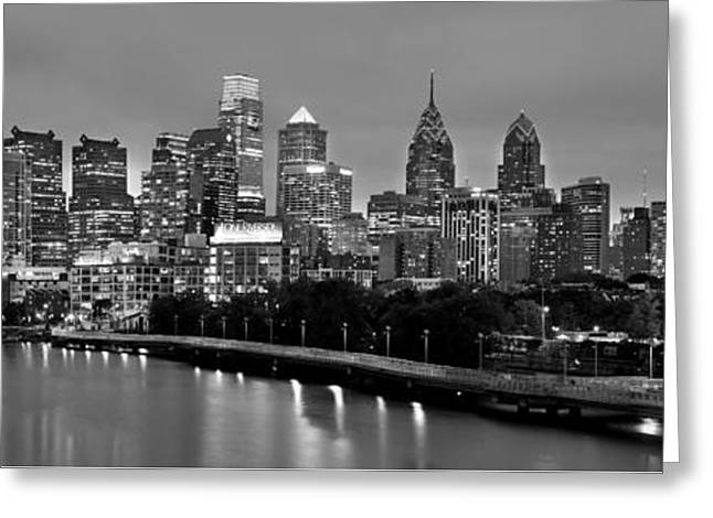 Greeting Card featuring the photograph Philadelphia Philly Skyline At Dusk From Near South Bw Black And White Panorama by Jon Holiday