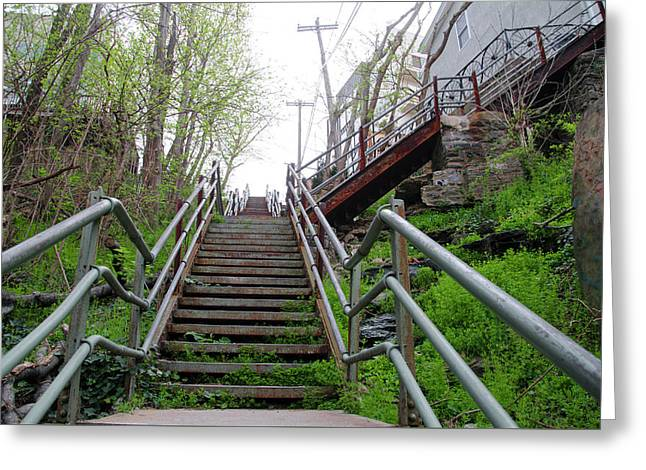 Greeting Card featuring the photograph Philadelphia - Roxborough Avenue Steps by Bill Cannon