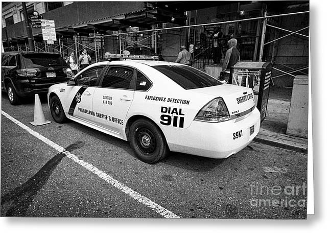 Philadelphia Sheriffs Office Chevy Impala Police Cruiser K-9 Unit Explosives Detection Vehicle Usa Greeting Card