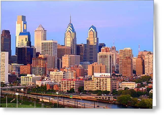 Philadelphia Skyline At Dusk Sunset Pano Greeting Card by Jon Holiday