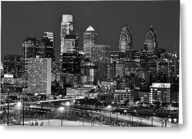 Philadelphia Skyline At Night Black And White Bw  Greeting Card by Jon Holiday