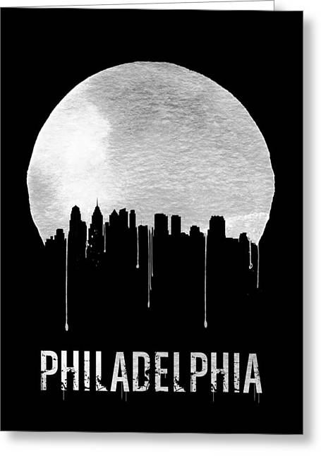 Philadelphia Skyline Black Greeting Card by Naxart Studio