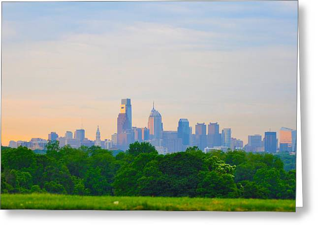 Phila Digital Greeting Cards - Philadelphia Skyline from West Lawn of Fairmount Park Greeting Card by Bill Cannon