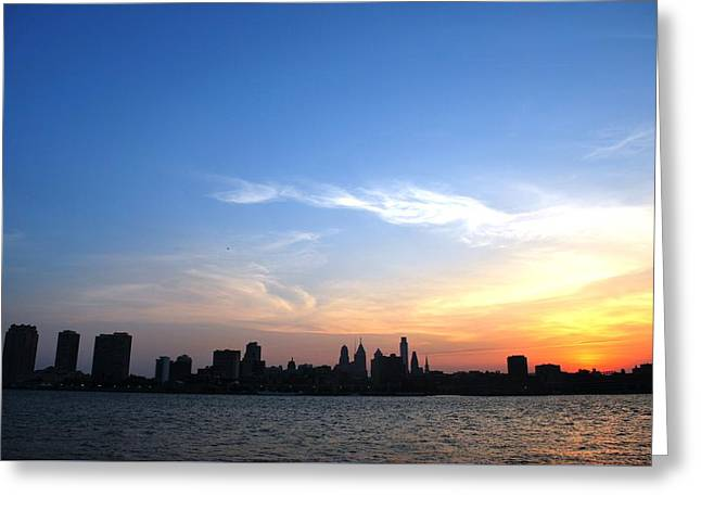 Philadelphia Skyline Low Horizon Sunset Greeting Card by Matt Harang