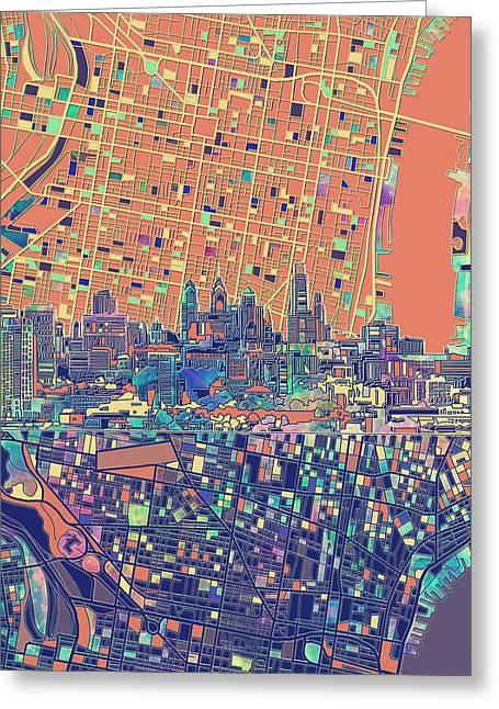 Philadelphia Skyline Map 2 Greeting Card