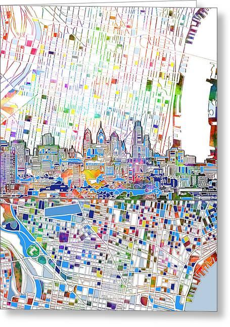 Philadelphia Skyline Map 3 Greeting Card