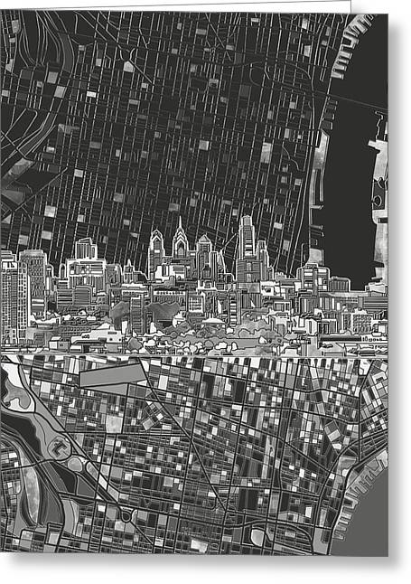 Philadelphia Skyline Map 4 Greeting Card