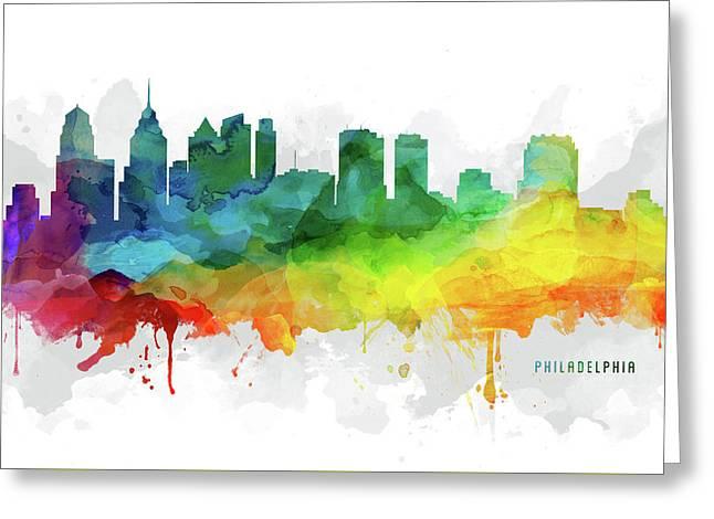 Philadelphia Skyline Mmr-uspaph05 Greeting Card by Aged Pixel