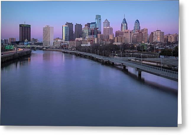 Philadelphia Skyline Pastels Greeting Card by Susan Candelario