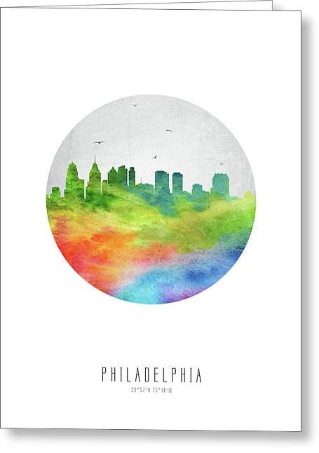 Philadelphia Skyline Uspaph20 Greeting Card by Aged Pixel