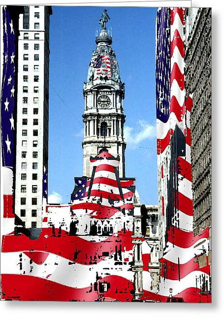 Philadelphia Stars And Stripes Collage Greeting Card