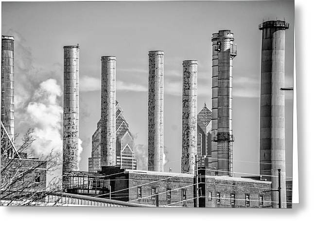 Philadelphia Steam Stacks In Black And White Greeting Card by Bill Cannon