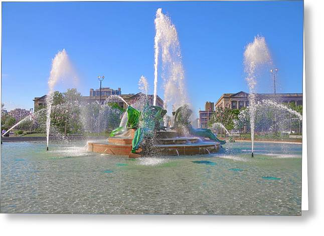 Philadelphia - Swann Fountain At Logan Square Greeting Card by Bill Cannon