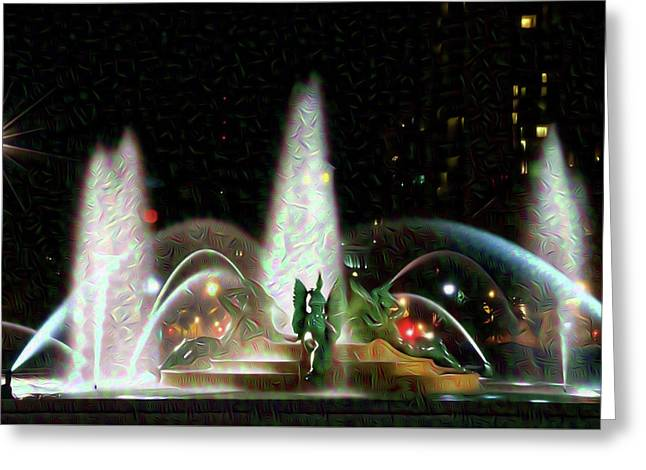 Philadelphia - Swann Fountain - Night Water Color Greeting Card by Bill Cannon