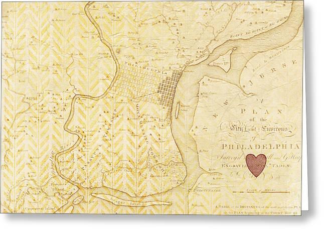 Philadelphia Vintage Map Greeting Card by Brandi Fitzgerald