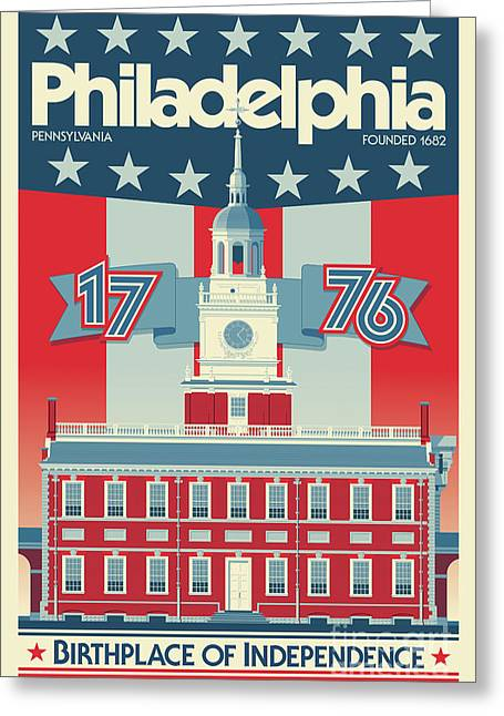 Philadelphia Poster - Independence Hall Greeting Card