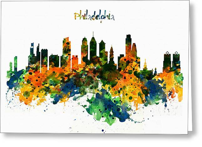 Philadelphia Watercolor Skyline Greeting Card by Marian Voicu